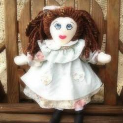 Rosy Mint Cloth Rag Doll Handmade Hand Embroidered Face 21""